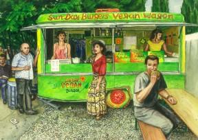 Aquarell: Vegan Wagen